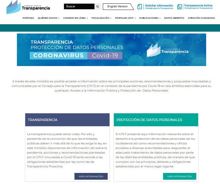 Covid-19: Consejo para la Transparencia habilita plataforma web sobre protección de datos personales