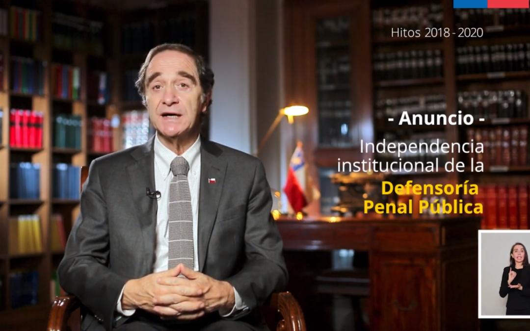 """Se busca crear un consejo que supervigile su funcionamiento: Ministro de Justicia anuncia proyecto para declarar """"naturaleza autónoma"""" de la Defensoría Penal Pública"""